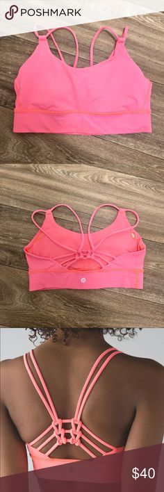 """lululemon Sunshine Salutation Bra lululemon Sunshine Salutation Bra-color is """"Grapefruit"""", which is a muted neon coral. Size 6. Worn only a few times, was a bit tight for me! Excellent condition. lululemon athletica Tops"""