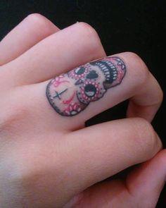 Mini Sugar Skull Tattoo for the Fingers