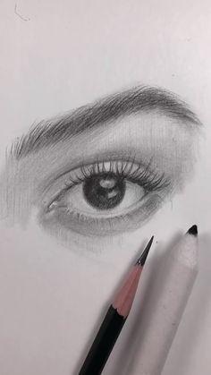 Art Drawings Beautiful, Art Drawings Sketches Simple, Pencil Art Drawings, Realistic Drawings, Drawings Of Eyes, Eye Pencil Drawing, Portrait Sketches, Drawing Techniques, Art Tutorials