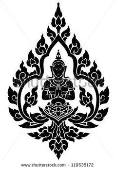 Thai arts angel, vector pattern