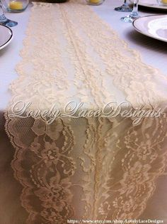 WEDDING DECOR/ Natural Lace Table Runner by LovelyLaceDesigns