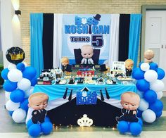 "Sweets Honey Beez Candy Buffet on Instagram: ""Dessert Table for Koshigan's 5th Birthday Bash!⁣ ⁣ Date : 27/04/2019⁣ Venue : Taman PD Mulberi, Port Dickson⁣ Theme : The Boss Baby (Blue,…"" Baby First Birthday Themes, Boss Birthday, Boys 1st Birthday Party Ideas, Birthday Bash, Christening Invitations Boy, Birthday Backdrop, Boss Baby, Port Dickson, Candy Buffet"