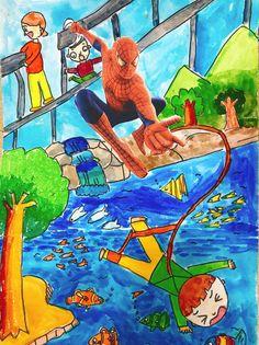 [초등1~2학년 아동반]7월 수업 - 한여울미술학원.[부산 사직동미술학원/온천동미술학원/거제동미술학원] : 네이버 블로그 Art Lessons For Kids, Art For Kids, Painting For Kids, Drawing For Kids, Crafts For Girls, Arts And Crafts, Superman Pictures, Drawing Lessons, Working With Children
