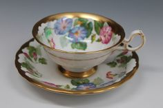 Large ROYAL CHELSEA Blue Pink MORNING GLORY GOLD TEA CUP & SAUCER FANCY CABINET