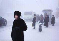 Average winter temperatures hang around -58 degrees Fahrenheit in Oymyakon and only a few ...