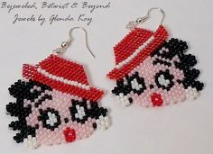 Wonderful gift idea for those that collect Betty Boop memorabilia or for the ladies who love fun novelty earrings! I handbeaded these using Delica and Toho glass seed beads. They measure 1.5 inches long by 1.5 inches wide and are hung on silver plated earwires. Free Shipping Within the USA