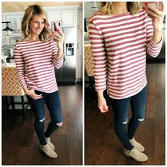 Casual Date Night Outfit // Striped Top + Distressed Jeggings