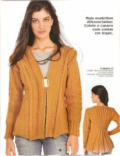 Receita de Tricô: Casaco em tricô com detalhes nas costas