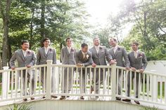 Saphire Estate | Lake Massapoag | Sharon, Massachusetts | Groom and Groomsmen Bridal Party | New England Summer Wedding Photo | Coral and Grey Suit | Lovely Valentine Photography