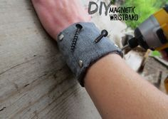 Make a handy magnetic wristband to hold screws & nails while you work.