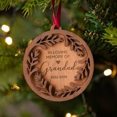 Light Brown Faux Leather Christmas Tree with Family Name  Rustic  Housewarming Gift  Home Gift Personalized Christmas Ornament