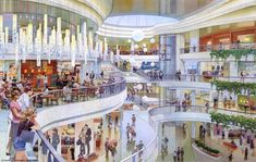 architectural illustration - retail - Ocean Park shopping mall