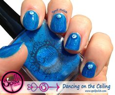 Dancing on the Ceiling –Neon Blue Matte Crème w/Micro-Glitter Sparkles!This is a neon blue with a matte finish and blue micro-glitters. Reaches full opacity with 3 coats. Use topcoat for a glossy finish.Glow in the Dark