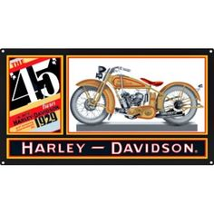 Harley Davidson 45 Twin Sign is a brand new embossed tin sign made to look vintage, old, antique, retro. Purchase your embossed tin sign from the Vintage Sign Shack and save.