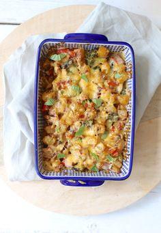 Aardappelovenschotel met broccoli en ham
