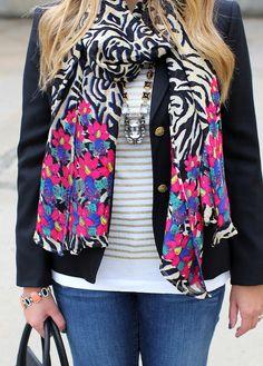 Stella & Dot Stylist @Tara Harmon Harmon K rocks her Phoenix Pendant and Luxembourg Scarf- Jeweled Zebra