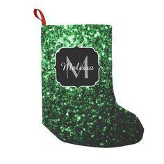 SOLD Beautiful Green glitter sparkles Monogram Small Christmas Stocking by #PLdesign #GreenSparkles #SparklesGift