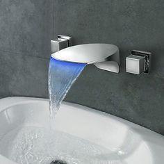 Dual Handles Bathroom Basin Brass Sink Waterfall Chrome Finish Mixer Tap Faucet