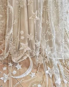 Moon and Stars embroidered wedding dress in beaded tulle Moon . - Moon and Stars embroidered wedding dress in beaded tulle Moon and stars embroider - Star Wedding, Dream Wedding, Civil Wedding, Wedding Beauty, Starry Night Wedding, Wedding Night Dress, Fairy Wedding Dress, Witch Wedding, Ethereal Wedding Dress