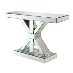 Accent Cabinets Thick Mirrored Console Table