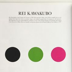 Rei Kawakubo as presented by three coloured circles. Her (brilliant) idea of a selfie circa 2000. This from the Interior Worlds 2000. A magazine/book/mook of vision and visions. Email if you want@ideanow.online #worldofinteriors #2000 #reikawakubo