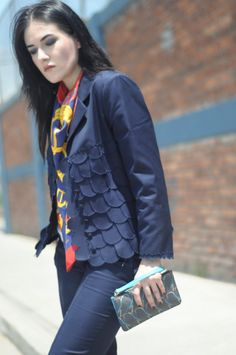 [ Lizzie Lo ]: J'aime mon carré : suit up! http://www.lizzie-lo.com/2015/08/jaime-mon-carre-suit-up.html [Fendi scalloped navy suit  +  Hermès silk carré in boucles et galons du tsar  +  YSL white T  +  Fendi Qutweets wrilstlet  +  Prada flatform brogues  +  Jil Sander by Raf Simons embroidered platform pumps]