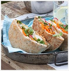 Garden Veggie Stuffed Pita Pockets    Ingredients    1 whole wheat pita, about 6 inches in diameter  2 Tbsp / 30 ml Zesty Hummus  2 Tbsp / 30 ml Yogurt Cheese  ¼ cup / 60 ml shredded or grated carrot  ¼ cup / 60 ml sliced mushrooms  ¼ cup / 60 ml sliced radishes  ¼ cup / 60 ml deli sprouts (such as clover, lentil, radish or fenugreek)  1 Tbsp / 15 ml unsalted sunflower seeds