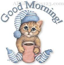 Funny Morning Coffee | All Graphics » Good Morning – Cat Taking Coffee