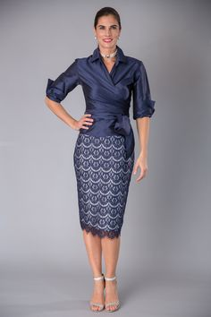 A classic two piece outfit with sleeves, of Navy and Silver for your next special occasion and for the modern and elegant #motherofthebride and #motherofthegroom.  Pure silk, featuring navy scalloped lace over pure silver silk lining.  Visit our website www.livingsilk.com to experience the elegance of Living Silk #livingsilk #motherofthebridedresses #motherofthegroomdresses #celebrateinsilk #navydresses #puresilk