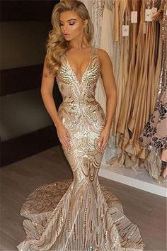 Sparkly V Neck Sequins Mermaid Prom Dress, Gorgeous Sleeveless Party Dress with Train N1416 #promdresslong #promdresssequins