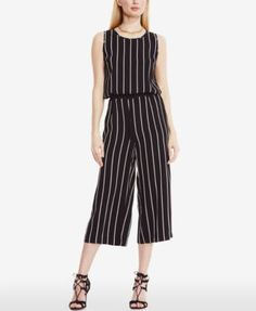 Vince Camuto Striped Cropped Wide-Leg Jumpsuit