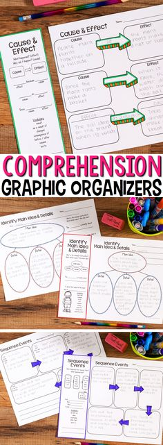 Reading Comprehension can be difficult but with these Reading Comprehension Graphic Organizers, students are supported via sentence frames and vocabulary suggestions specific to the comprehension skill or strategy. Students will learn to discuss and write about text using high-level academic language.  Reading Comprehension Graphic Organizers with Language Support or Detachable Bookmark contain 40 graphic organizers in two formats for a total of 80 options. #graphicorganizers