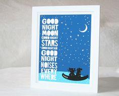 Good Night Moon Personalized Custom Name, Baby Nursery Art Print, Wall Art, Raw Art Letterpress, posters and prints on Etsy, $42.00