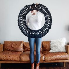 Large Circular Macrame Wall hanging Dope Rope is home to modern-bohemian wall hangings that are meant to bring texture and dimension to any wall or room in your house. Your piece is made by hand using natural unbleached cotton n Upstate NY. Yarn Wall Art, Yarn Wall Hanging, Diy Wall Art, Wall Art Decor, Crochet Wall Hangings, Crochet Decoration, Macrame Design, Modern Bohemian, Boho Decor