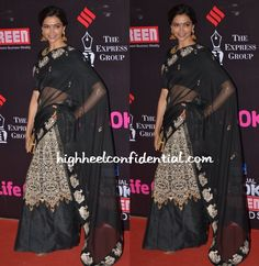 Deepika did desi at the Star Screen Awards wearing a black lehenga sari from Jade with jhumkis from Amrapali and a gold toned Bottega Veneta knot clutch. After her recent missteps on the red carpet, this was a much needed turnaround. She looked lovely. Deepika Padukone at Star Screen Awards 2015 Photo Credit: Viral Bhayani …