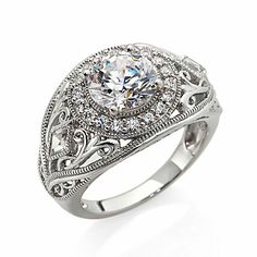 I'm in love with this ring! Xavier 2.54ct Absolute™ Round and Kite-Shaped Sides Filigree Ring