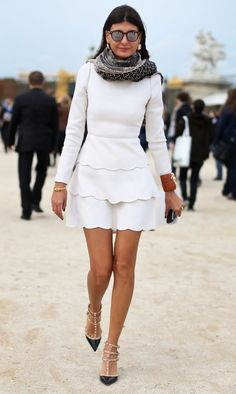 Giovanna Battaglia gets it right time and time again- the scalloping and her scarf are fashion perfection!