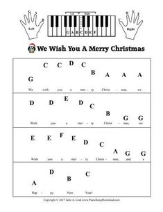 We Wish You A Merry Christmas Pre-Staff with letters for beginning piano lessons. We Wish You A Merry Christmas Pre-Staff with letters for beginning piano lessons. Beginner Piano Music, Piano Music Notes, Easy Piano Sheet Music, Piano Music For Kids, Keyboard Sheet Music, Music Music, Keyboard Piano, Disney Sheet Music Piano, Keyboard Notes For Songs