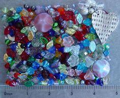 1/4 LB Pound Czech Glass Flower Leaf Beads Secret Garden Silver Pendant Lot