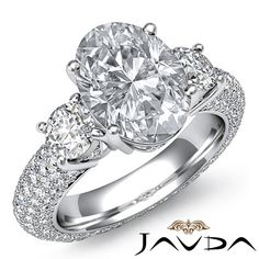 Oval Diamond 3 Stone Pave Engagement Ring EGL G Color SI1 14k White Gold 3 64 Ct | eBay