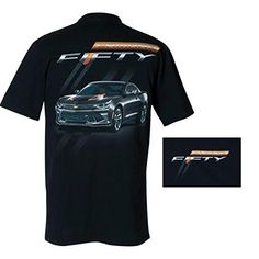 Camaro Fiftieth Anniversary T-Shirt / Black (Large). Preshrunk tee featuring full color Camaro Fifty screen-print. 100% combed ringspun cotton. Color : Black. NOTE: West Coast Corvette/Camaro is the ONLY seller on this listing that can guarantee licensed products. Buying from other sellers will result in an unlicensed, low quality replica.