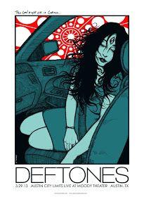 Deftones concert poster, by Jermaine Rogers Rock Posters, Band Posters, Concert Posters, Illustration Photo, Illustrations, Arte Hippy, Rock Y Metal, Nu Metal, Metal Pins