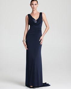 ML Monique Lhuillier Gown - Sequin Cowl Neck - Bloomingdales