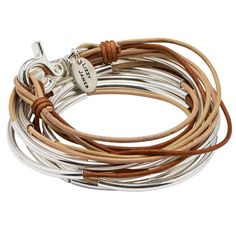 Lizzy Too 5 strand leather wrap bracelet in Tricolor Natural leather