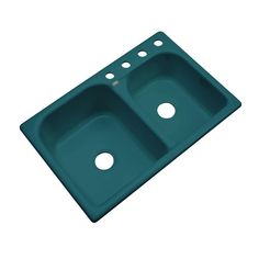 Cambridge Drop-In Acrylic 33 in. 4-Hole Double Bowl Kitchen Sink in Teal (Blue)