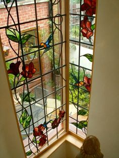 Simply stained glass contemporary stained glass windows - like the vine idea Stained Glass Door, Stained Glass Flowers, Stained Glass Designs, Stained Glass Panels, Stained Glass Projects, Stained Glass Patterns, Leaded Glass, Beveled Glass, Mosaic Glass