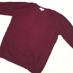 Burgundy Waffle Knit Sweater Only worn a few times- in perfect condition and super comfy and cute for the cold weather! Forever 21 Sweaters Crew & Scoop Necks