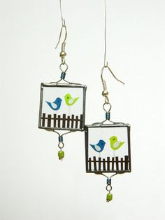 Birds on a Fence  Unique Glass Earrings  Blue Green by lintunakit, $20.00