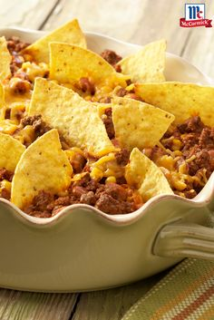 """Taco Casserole: A quick and easy one-dish version of """"Taco Night"""". All of the great flavor of tacos in one delicious dish. - super easy dinner and delish. added our fave toppings (sour cream, black olives, salsa, green onions) Taco Casserole, Casserole Dishes, Casserole Recipes, Taco Bake, Mexican Casserole, Mexican Food Recipes, Beef Recipes, Snack Recipes, Cooking Recipes"""