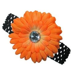 The Trendy Turtle 3-in-1 Gerber Daisy Flower Hair Clip Bow on Soft Stretch Crochet Child Headband fits Babies to Toddlers to Youth Girls (Many Colors Available)